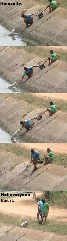 Two children working together to rescue a dog <3