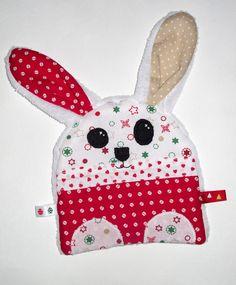 Doudou plat lapin tout doux Noël : Jeux, peluches, doudous par mllekameleon