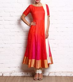 Ombre Orange & Pink Raw Silk Anarkali With Churidars And DupattaOrange & Pink Raw Silk Anarkali is simple, but reflects our culture wellMagnificent, Sophisticated and Indian - Amyraah's collection of awe-inspiring ethnic and fusion wear renders you a Churidar Designs, Kurta Designs Women, Blouse Designs, Dress Designs, Indian Attire, Indian Ethnic Wear, Indian Outfits, Saris, Silk Sarees