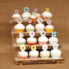 Tree slice Rustic Cupcake Stand