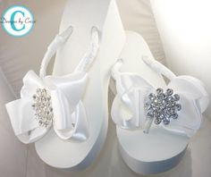 6de605d1c Ivory or White Wedge Bridal Flip Flops Jewel Rhinestone Satin Rhinestone  Bow Wedding Bride platform heel Wedding Ribbon brides