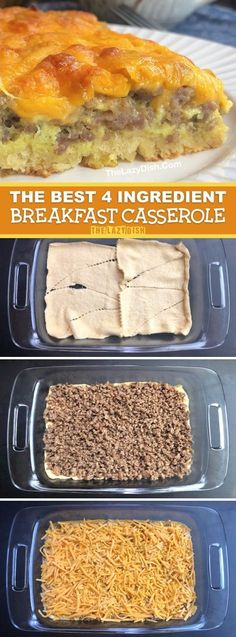 Easy Breakfast Idea For A Crowd: 4 Ingredient Sausage Casserole Looking for quick and easy breakfast ideas? This simple 4 ingredient casserole is made with just eggs, sausage, cheese and crescent rolls! Kids and adult love this recipe Curry D'aubergine, Breakfast Casserole Sausage, Sausage Muffins, Easy Breakfast Casserole Recipes, Breakfast Casserole With Sausage, Make Ahead Breakfast Casseroles, Recipes Using Breakfast Sausage, Easy Sausage Recipes, Vegetarische Rezepte