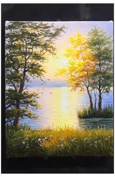 Beautiful Landscape Paintings, Watercolor Landscape, Landscape Art, Watercolor Art, Watercolor Scenery, Sunrise Landscape, Canvas Painting Landscape, Garden Painting, Acrylic Painting Trees
