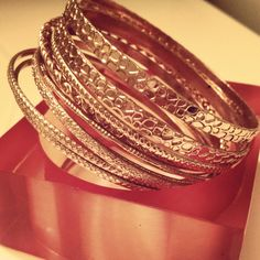 Bangles, a classic staple. Every fab woman should own a pair.  @fabtabtv     http://www.fabtabtv.com/i-like-shiny/  Eat, Drink & Be Fabulous