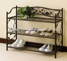 Home Organizer Saving Space 3 Tier Standing Shoe Shelf,Decorative Door Accessories,Black Metal Folding Shoes Rack Photo, Detailed about Home Organizer Saving Space 3 Tier Standing Sh Iron Decor, Painted Bedroom Furniture, Steel Furniture, Iron Furniture, Metal Furniture Design, Furniture Design, Door Accessories, Wrought Iron Decor, Metal Furniture