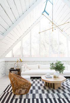 Sarah Sherman Samuel:A-frame Living Room Before & After | Sarah Sherman Samuel