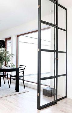 18 Ideas for steel door design metals glass walls Interior Door, Interior And Exterior, Interior Design, Door Dividers, Cool Doors, Steel Doors, Sliding Glass Door, Glass Doors, Home Living