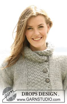"""Silver Haze - DROPS jacket in """"Eskimo"""", """"Andes"""" or """"Nepal"""" with A-shape and ¾-long or long sleeves. Size S to XXXL - Free pattern by DROPS Design Knit Cardigan Pattern, Crochet Jacket, Sweater Knitting Patterns, Jacket Pattern, Knit Jacket, Knitting Designs, Knit Patterns, Free Knitting, Drops Design"""