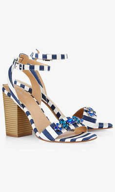 STACKED STRIPED RHINESTONE SANDAL | Express