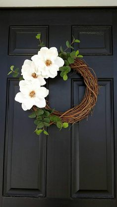 Magnolia Flower Wreath Spring Wreath Farmhouse Style