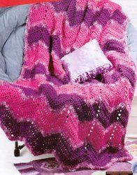 The bright pinks and purples of this Teen Ripple Afghan makes it appeal to teenage girls. Make it for a birthday present or, since the free afghan crochet pattern is rated easy, let her try it for herself.