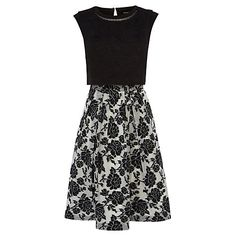 Buy Karen Millen Graphic Rose Dress, Black/White Online at johnlewis.com