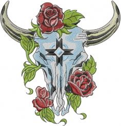 Machine Embroidery Designs Embroidery Design: Steer Skull With Roses 5.71 inches H x 5.46 inches W