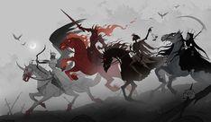 Four Horsemen of the Apocalypse Art Print by irenhorrors Wie Zeichnet Man Manga, Apocalypse Art, Ange Demon, Arte Obscura, Horror Art, Mythical Creatures, Framed Art Prints, Art Reference, Illustration