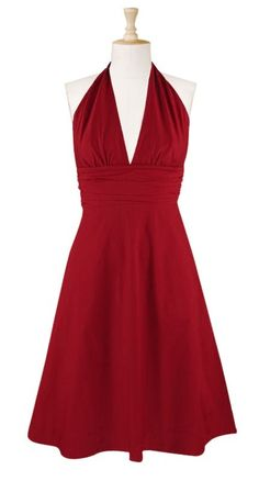 It's Marylin! In 8 colors. Ruching at the bodice and layered pleats at the wide Empire waist enhances the figure-flattering style of a crisp cotton poplin dress. $56.95