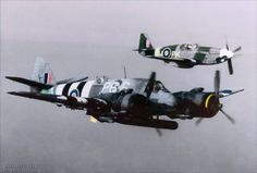 P-51 Mustang III, PK-W, FB123 - Polish 315 Sqn, piloted by W/O Ryszard Idrian, escorts a Beaufighter TFX, NE429 P6-S, No. 489 (NZ) Squadron Piloted by P/O E.F.G.Burrowes DFC, with Navigator F/S D.A.Young, flying out of RAF Langham, North-West of Norwich, Norfolk, England.