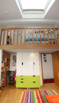 Umbau Kinderzimmer, Einbau 2. Ebene, Schlafebene (Hochbett) , Ikea Stuva, bunk bed