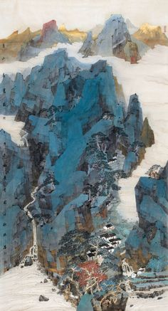 Zhang Qiuju(张秋桔). Autumn Mountains. This is a modern take on Chinese landscape painting. There are squarish forms in this painting that imitate the axe stroke in older works. #ContemporaryChineseArt