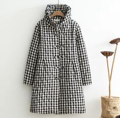 plaid The chinese button Retro stand collar long sleeve plaid Quilted jacket mori girl autumn