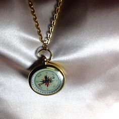 ⭐️ UNIQUE REAL COMPASS  NECKLACE  Real working goldtone compass necklace on goldtone chain.  Never get lost, lol.  Fun Artwear. Jewelry Necklaces