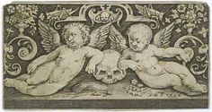 BRUYN Nicolas de  (1571 - 1656 ) - Ornement - putti et crâne - gravure  1594