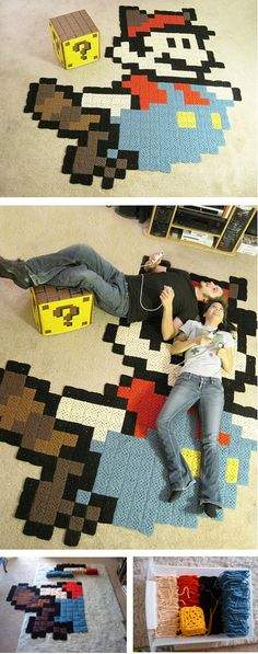 Mario Brothers themed rug! We think it might just be perfect for one of our media rooms!