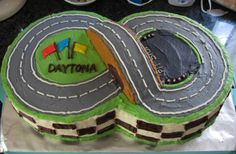 My friends were having a race car themed birthday party for their son, who was turning 3. What better way to celebrate than with a racetrack with flaming car candles? :) I made this racetrack using…