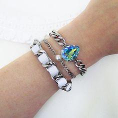 Mermaid Tear Pear Swarovski Chain Bracelet / Rainbow Crystal / Stainless Steel / Curb Chain / Teardrop Crystal / Turquoise / Aquamarine