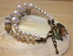FRÜHLING 19 - 2-Perlenarmband - bronze - weiss Boho, Messing, Beaded Bracelets, Bronze, Jewelry, Fashion, Light Rose, Ear Piercings, Handarbeit