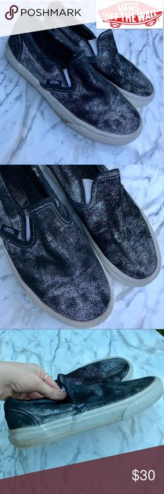 Rad Black   Silver Vans Slip Ons They re well loved but still have tons aed23a74d