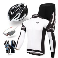 Black and White Long Sleeve Cycling Full Set