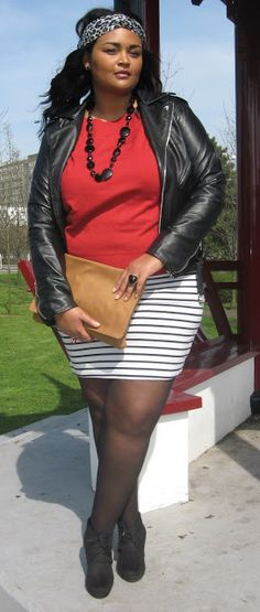 Mode Plus: Ladybug, my style icon Big Girl Fashion, Curvy Fashion, Plus Size Fashion, Mode Plus, Work Wear, Leather Skirt, Ready To Wear, Chic, My Style