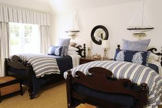 twin beds blue white nautical