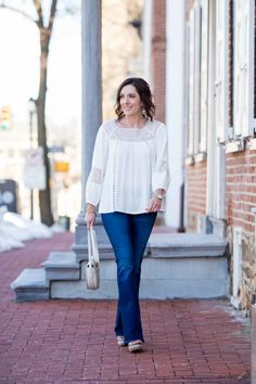 Lace Peasant Blouse with Bootcut Jeans | Boho Spring Outfit | Fashion for Women Over 40 | Jo-Lynne Shane