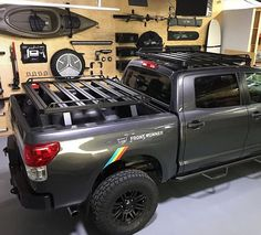 Toyota Tundra Pick-Up Truck Slimline II Load Bed Rack Kit - by Front Runner This Slimline II rack kit contains the Slimline II tray, Pick-Up truck Bed Legs that fit into the Tracks and a Wind Deflector. This kit creates a full size rack Gmc Trucks, Toyota Trucks, Diesel Trucks, Lifted Trucks, Pickup Trucks, Lifted Chevy, Jeep Pickup, Chevy 4x4, Ford 4x4
