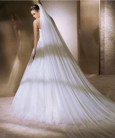 1 Tier Double Layer Wedding Veil Cathedral with Comb White or Ivory | SovaBridal.com