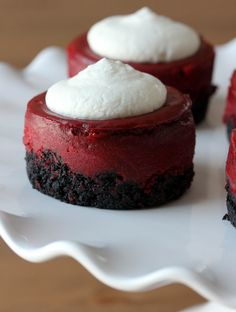 mini red velvet cheesecakes- made the recipe in small cheesecake pan. next time will double the crust and filling!
