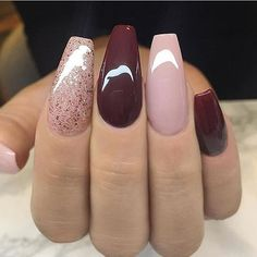Dark red , mauve and glitter nail art design