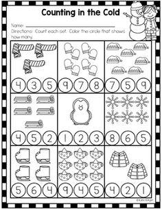 Winter Activity Pack for Kindergarten - No-Prep printables for December, or send it home for Winter Break! Pre K Worksheets, Kindergarten Math Worksheets, Preschool Curriculum, Preschool Themes, Preschool Lessons, Preschool At Home, Math Activities, Preschool Activities, Winter Activities For Kids