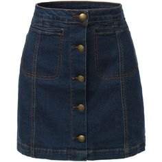 LE3NO Womens Vintage Denim A-Line Button Down Mini Skirt (1,160 PHP) ❤ liked on Polyvore featuring skirts, mini skirts, bottoms, a line mini skirt, denim miniskirt, blue denim skirt, short denim skirts and short skirts
