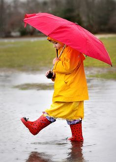 """Rainy day ~~my sons years ago and my grandchildren today, absolutely love a great """"puddle"""".they are drawn to a puddle like a bug to a light ♡ Red Umbrella, Under My Umbrella, Walking In The Rain, Singing In The Rain, I Love Rain, Rain Go Away, Guerilla Marketing, When It Rains, April Showers"""
