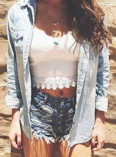 #summer #fashion / lace + denim