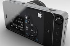 iCam concept...turn your iPhone into an interchangeable lens system with front-facing small display for self-portraits and built-in projector (concept, does not actually exist)