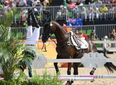 Ruy Fonseca of Brazil is thrown off his horse, Tom Bombadill Too, as the horse refuses a jump during the Rio 2016 Olympic Games Equestrian events at the Olympic Equestrian Centre in Rio de Janeiro, Brazil on August 9, 2016.