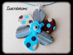 collier fleur chocolat beige et turquoise : Collier par isacreations