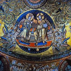 📷 Mosaic from the apse of Santa Maria Maggiore depicting Christ crowning the Virgin. Heinrich Schliemann, Santa Maria Maggiore, Rome Italy, City Photo, Christ, Mosaic, Photography, Fotografie, Fotografia