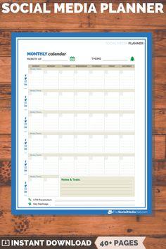 Social Media Planner for Social Media Success Internet Marketing, Social Media Marketing, Digital Marketing, Social Media Video, Social Media Content, Calendar Organization, Paper Organization, Social Media Advantages, Social Media Calendar