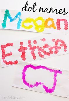 An easy to set up name activity for preschoolers and kindergartners - dot names! Children can practice fine motor skills, alphabet recognition, and more. Preschool Names, Preschool Centers, Preschool Learning Activities, Preschool Lessons, Alphabet Activities, Preschool Art, Preschool Alphabet, Learning Letters, Preschool Projects