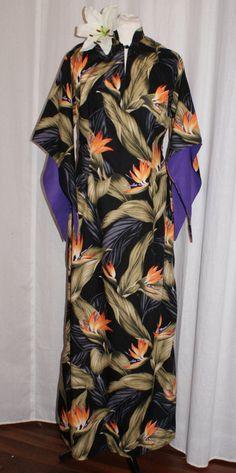 Vintage 1950s inspired Hawaiian Pake Muu maxi full length dress L bird of paradise flowers rockabilly Tiki by OuterLimitz on Etsy