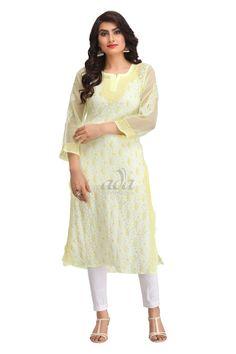 Ada Hand Embroidered Lemon Faux Georgette Lucknowi Chikankari Kurti - A181219 Price Rs.1,340.00 #Ada_Chikan #lucknow chicken kurta #Handcrafted kurta #chicken embroidery kurti #Needelcrafted #georgette chikan kurta #exclusive chikankari #ada chikankari #lemon lucknowi short kurtis #lakhnavi dress #georgette chikankari anarkali #lucknowi material #lucknowi kurtis wholesale online #chicken kurta for women #chikankari fabric suppliers #kurti for women